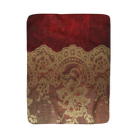 Red With Gold Lace Sherpa Fleece Blanket - Fun With Chemo