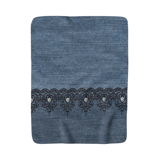 Denim and Black Lace With Sparklers Sherpa Fleece Blanket - Fun With Chemo