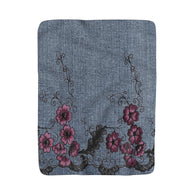Denim With Embroidery Sherpa Fleece Blanket - Fun With Chemo