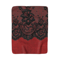 Black Lace On Red Sherpa Fleece Blanket - Fun With Chemo