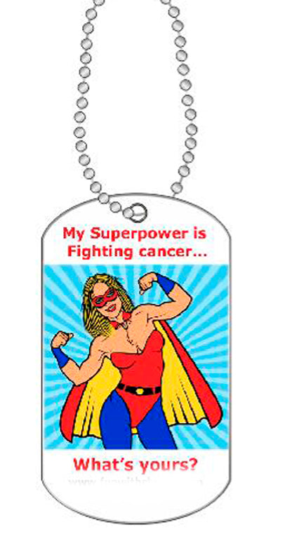 My Superpower Is Fighting Cancer Dog Tag Necklace - Fun With Chemo
