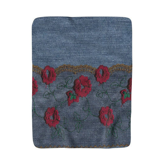 Embroidered Denim Sherpa Fleece Blanket - Fun With Chemo