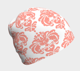 Coral and White Damask Beanie - Fun With Chemo