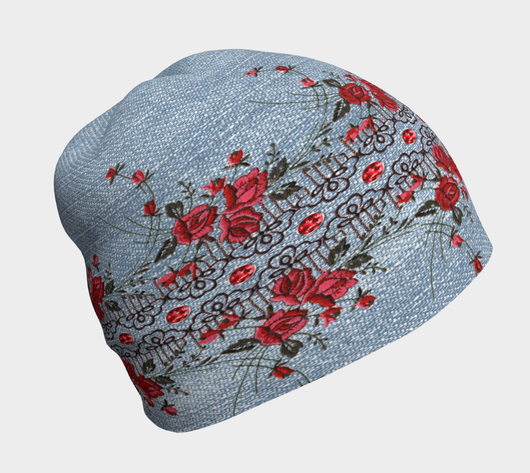 Denim With Embroidered Roses Beanie - Fun With Chemo
