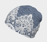 Denim With White Lace 2 Beanie - Fun With Chemo