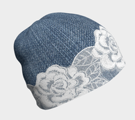 Denim With White Lace Roses Beanie - Fun With Chemo
