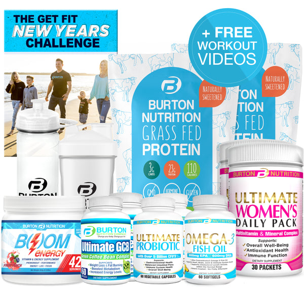 2020 NEW YEAR'S KIT 🎉 60 DAY SUPPLY 🎉 2 GET FIT GRASS FED WHEY - CHOOSE YOUR FLAVORS PLUS 1 BOOM * 2 ULTIMATE GCB * 2 PROBIOTIC * 1 OMEGA * 2 WOMEN'S MULTI * 1 H20 BOTTLE * 1 SHAKER CUP * 1 NEW YEARS PDF PLUS 🎁  FREE WORKOUTS