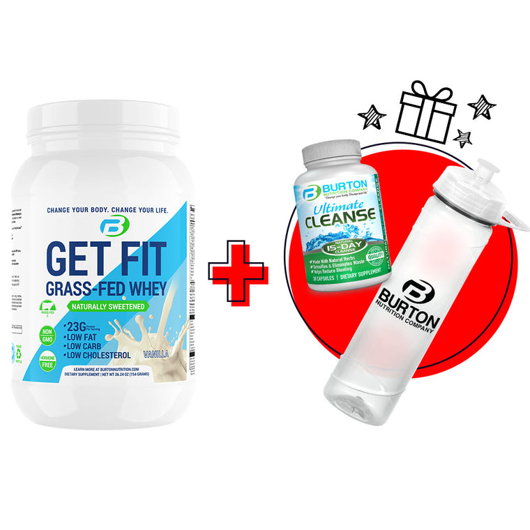 GET FIT GRASS FED WHEY - VANILLA  PLUS 🎁 FREE 🎁 CLEANSE & H20 BOTTLE ⭐️ $30.00 VALUE