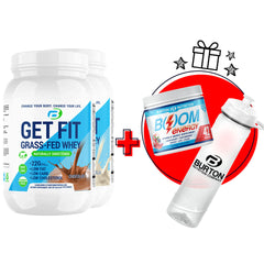 2 GET FIT GRASS FED WHEY - CHOOSE YOUR FLAVORS + 🎁 FREE 🎁 BOOM ENERGY +H20 BOTTLE ⭐️ $45.00 VALUE