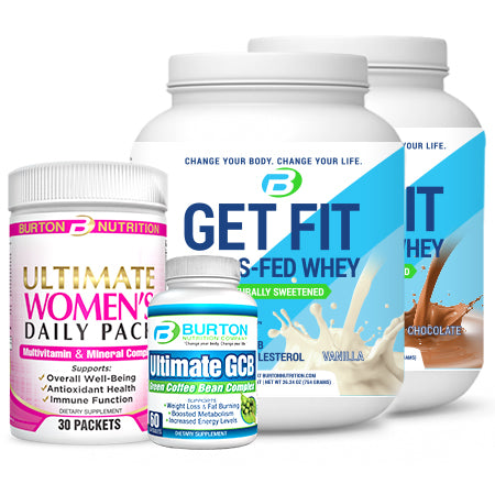 WOMEN'S STARTER CHALLENGE KIT 2 PLUS  - 2 TUBS of GRASS FED WHEY or VEGAN PROTEIN ( Vanilla or Chocolate), 1 Women's ULTIMATE Multi 30 day pack, and the ULTIMATE GCB and the Downloadable