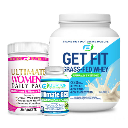 WOMEN'S STARTER CHALLENGE KIT PLUS  - 1 TUB of GRASS FED WHEY or VEGAN PROTEIN ( Vanilla or Chocolate), 1 Women's ULTIMATE Multi 30 day pack, and the ULTIMATE GCB and the Downloadable