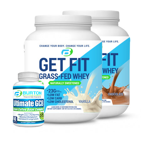 "BURTON NUTRITION STARTER CHALLENGE KIT 2! 2 TUBS of GRASS FED WHEY or VEGAN PROTEIN (Vanilla or Chocolate), 1 Ultimate GCB (30 day supply), and the Downloadable ""90 DAY CHALLENGE"" PDF, FREE Workout Videos"