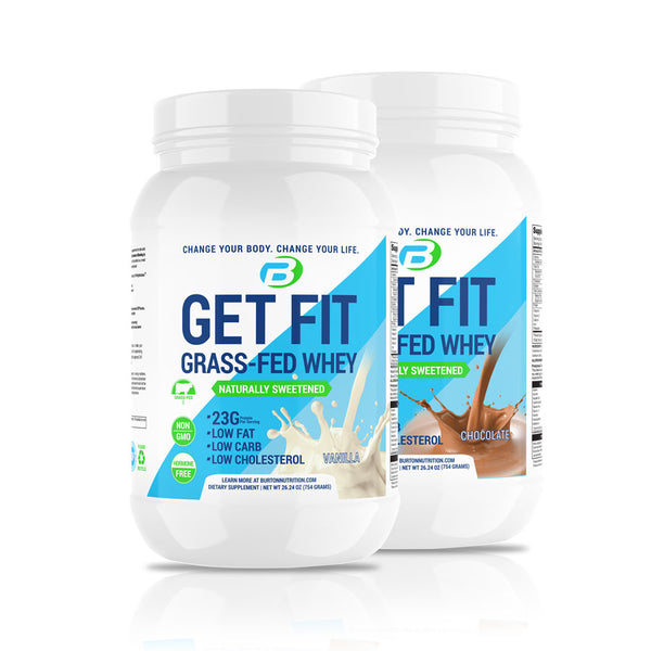 2 GET FIT GRASS FED WHEY - CHOOSE YOUR FLAVORS PLUS 🎁 FREE 🎁 MULTI COMPLETE & OMEGA FISH OIL + H20 BOTTLE  ⭐️ $50.00 VALUE