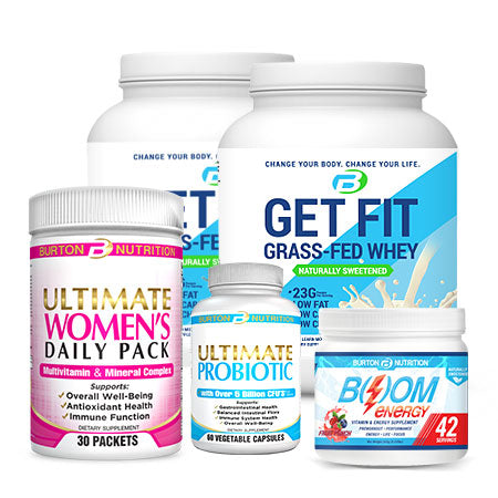 WOMEN'S CHALLENGE TRANSFORMATION KIT -  2 TUBS of GRASS FED WHEY (Vanilla or Chocolate) or VEGAN PROTEIN, 1 Women's Multi 30 day pack, 1 Probiotic and 42 servings of BOOM ENERGY!