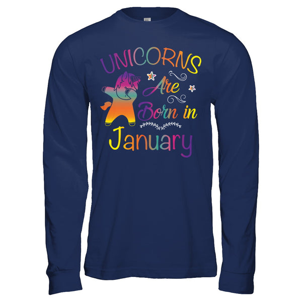 Unicorns Are Born In January Birthday T Shirt Men