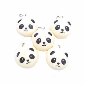 Panda Bun Mochi Stretchy Squeeze Toy with Ball Chain