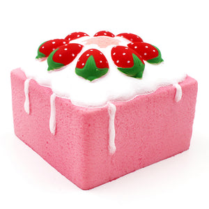 JUMBO Slow Rising Square Cake Cube Squishy Charm Scented Strawberry Pink