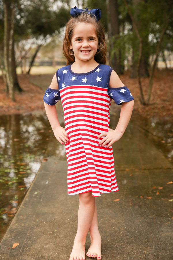 Red White and Blue Peekaboo Shoulder Dress