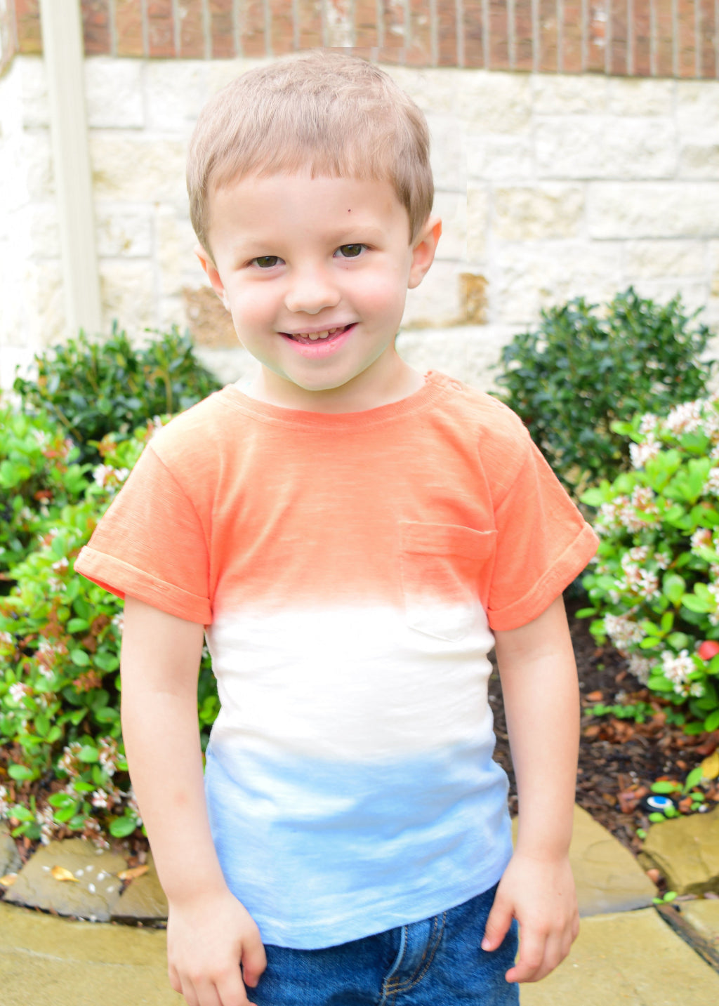 Tri-Color Boys' Sublimated Tee: Salmon, White, and Blue