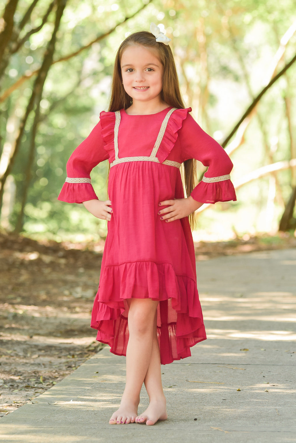 Cranberry High to Low Dress