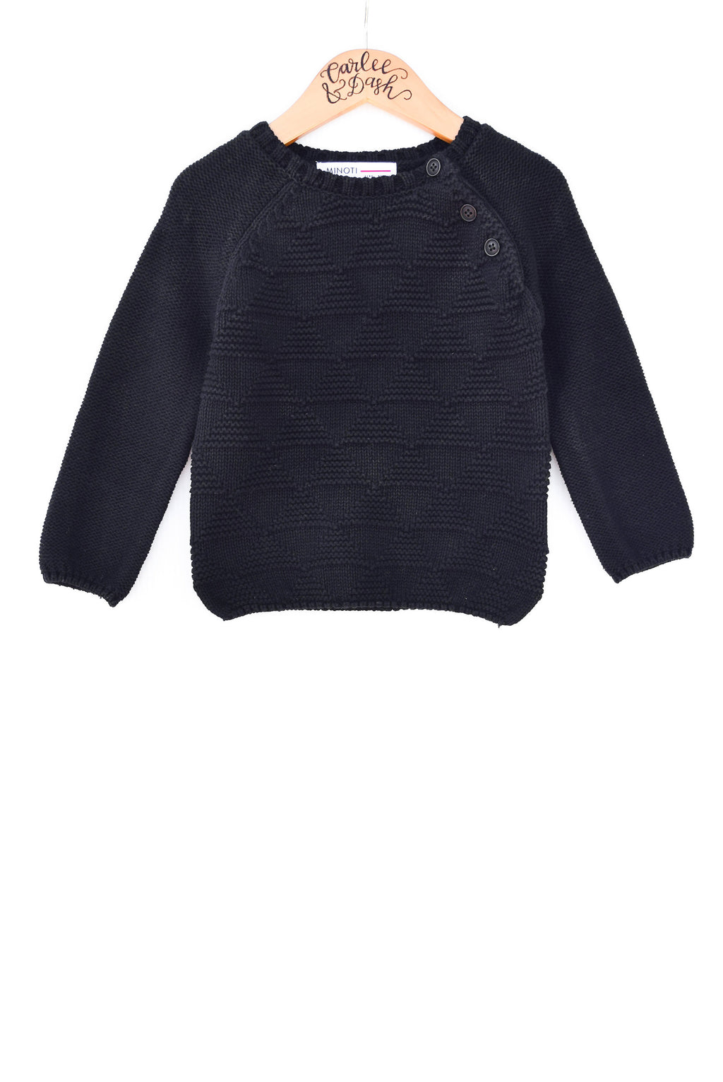 Black Knit Sweater with Buttons