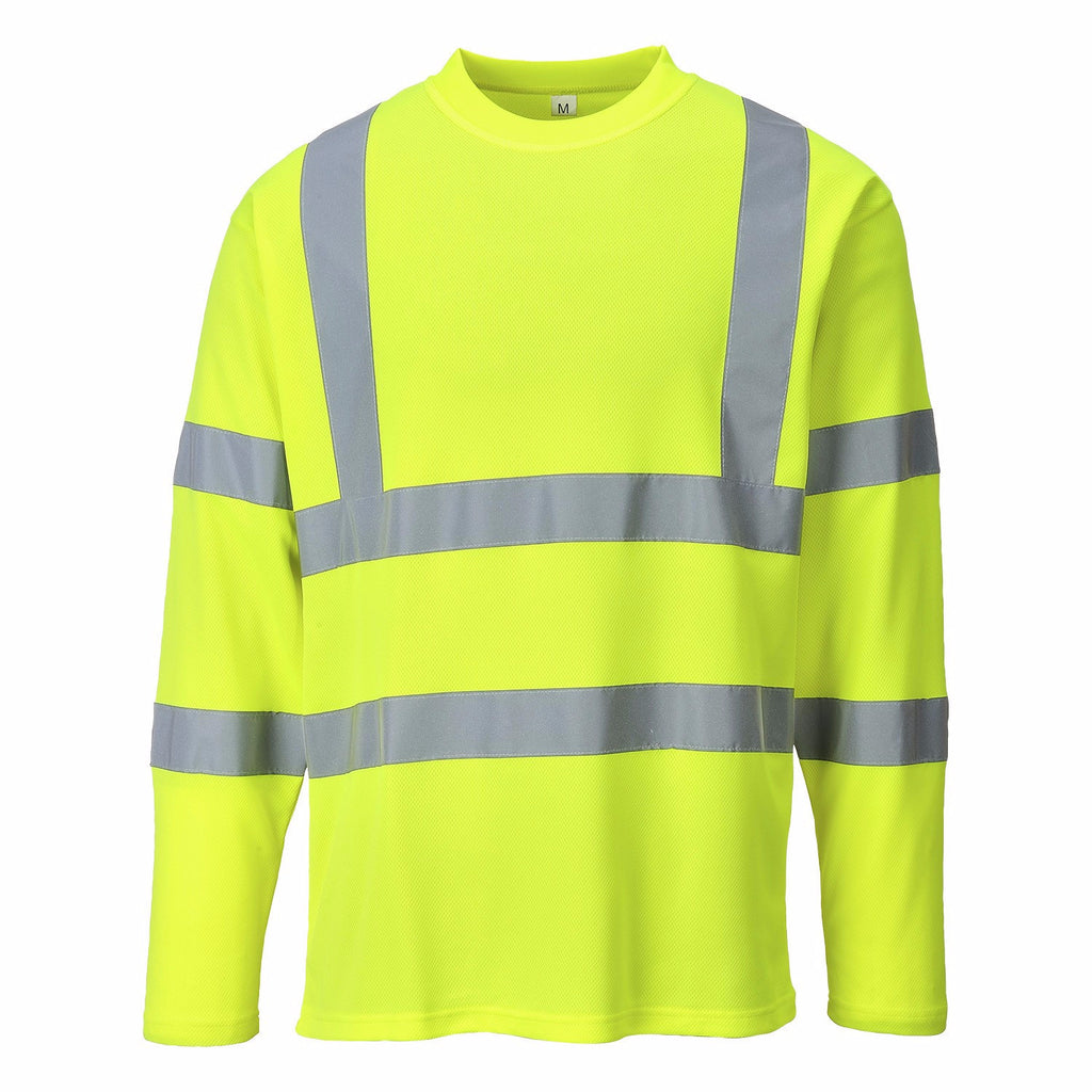 Portwest Yellow Cotton Long Sleeved T-shirt, Class 3