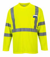 Portwest Hi-Vis Long Sleeve Pocket T-Shirt, Class 3, Yellow