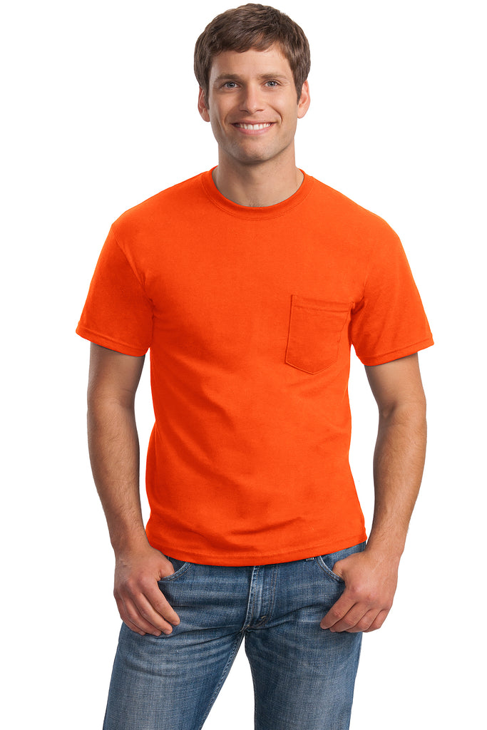 Gildan Ultra Cotton/Poly T-Shirt with Pocket, Safety Orange