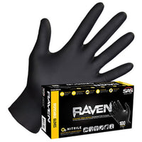 Raven Black Nitrile Powder Free Gloves 6 Mil
