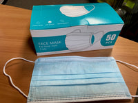 Disposable Face Masks 3 Ply, 50 box