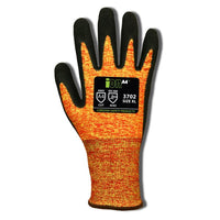 iON A4 Mandarin Orange, 13 Gauge Black Sandy Nitrile Coating ANSI Cut Level A4