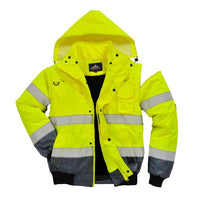 Portwest Hi-Vis Contrast Bomber Jacket, Yellow