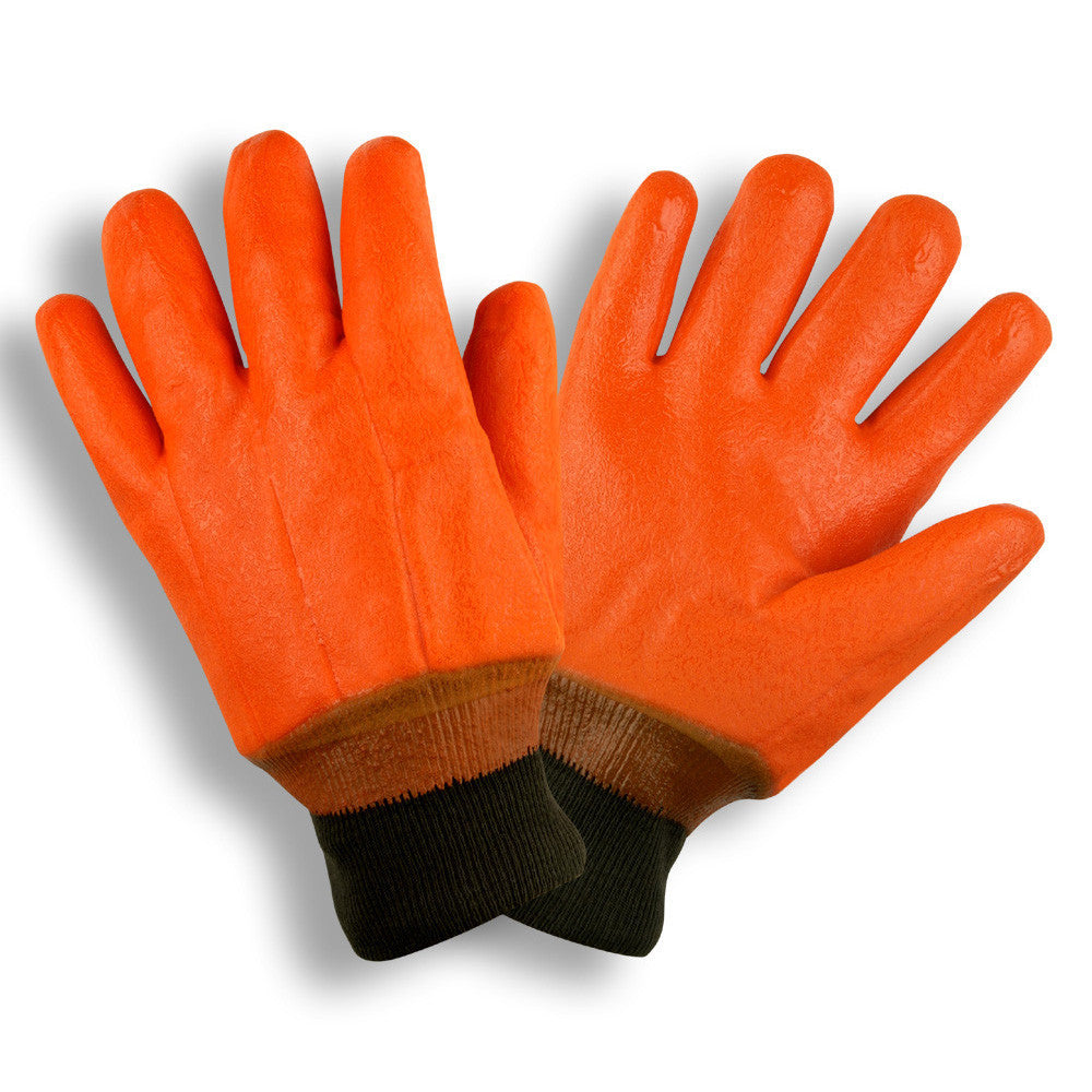 Orange PVC Foam Insulated Glove, (L)