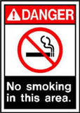 Danger No Smoking In Area Sign