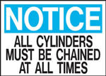 Notice All Cylinders Must Be Chained At All Times Sign