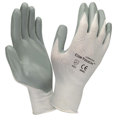 Cordova- Cor Touch Gray Nitrile Palm White Nylon, Dozen