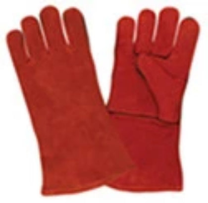 Leather Welding Glove, Red, (XL)