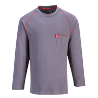Portwest FR01 Bizflame Crew Neck T-shirt Long Sleeve- Gray