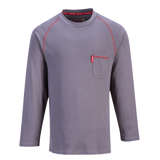 Portwest Flame Resistant Bizflame Crew Neck T-shirt Long Sleeve- Gray