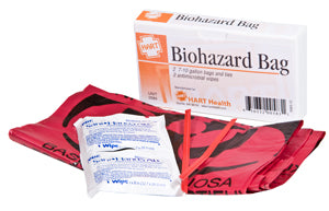 Biohazard Bags, 2 Bags with 2 Hand Wipes