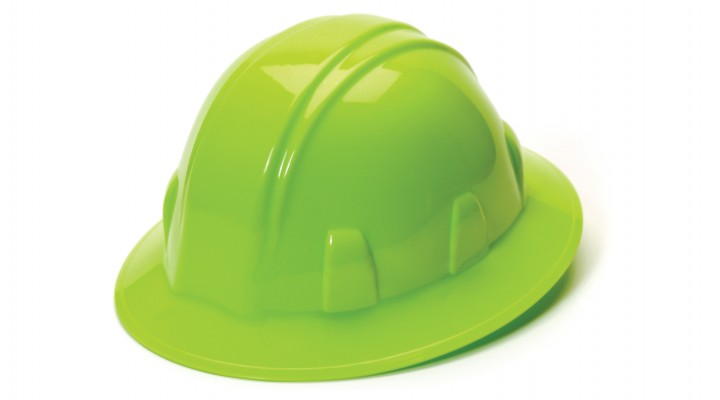 Hard Hat-Full Brim Style- Hi Vis Yellow, 4 pt. Ratchet Suspension