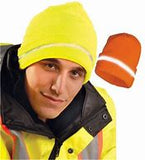 Hi Vis Knit Cap Lime w/ Reflective Tape
