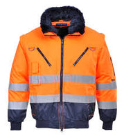 UPJ50ONR- Portwest Hi Vis 3 in 1 Pilot Jacket- Orange/Navy