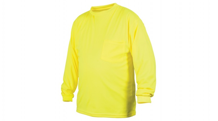 Pyramex Moisture wicking  Lime Hi Vis Long Sleeve T Shirt