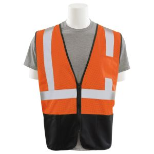 ERB Class 2 Mesh Vest Orange with Black Front Zipper closure S363PB