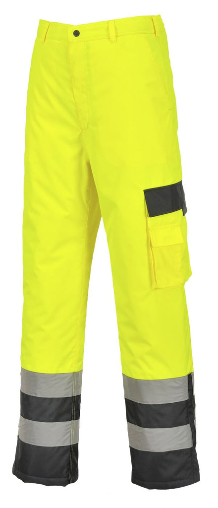 Portwest S686 High Visibility Insulated Lined Pants, Yellow