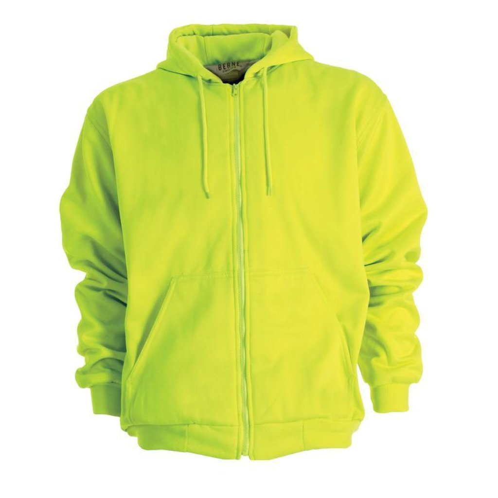 Berne Original Hooded with Zipper Sweatshirt Hi Vis Lime