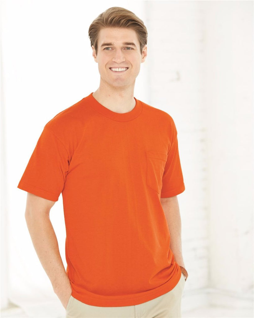 Bayside 1725 50/50 Short Sleeve W/ Pocket Orange