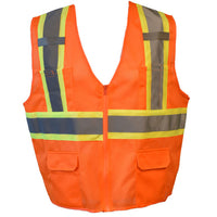 Cordova Class 2 Type R Mesh Two Toned Safety Vest with 6 Pockets-Orange VS272P