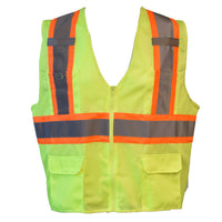 Cordova Class 2 Mesh Two Toned Safety Vest with 6 Pockets-Lime VS273P